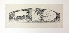 MAIDEN AND WILD BOAR OVER A POOL OF WATER - AN ORIGINAL PEN AND INK DRAWING FOR