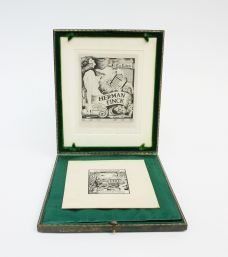 ARTS AND CRAFTS BOOKPLATE WITH ORIGINAL COPPER PRINTING PLATE